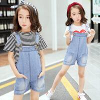 女童背带裤夏装新款韩版时尚短裤套装儿童洋气牛仔背带两件套