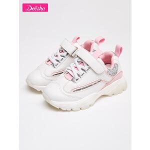 笛莎童鞋女童运动鞋2018秋季新款时尚印花拼接休闲鞋儿童运动鞋