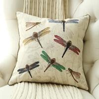 0726055719473美式乡村田园新中式蜻蜓绣球刺绣亚麻靠垫抱枕沙发卧室床靠枕布艺