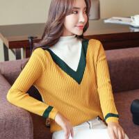 半高领套头毛衣打底针织衫2018秋冬装新款韩版女装长袖撞色上衣服