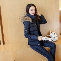 2018冬装韩版可脱卸帽棉袄加厚修身女短款外套两件套装棉衣潮