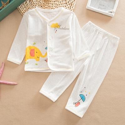 婴儿内衣套装薄款睡衣男女宝宝长袖内衣套装夏季空调房透气孔衣服 发货周期:一般在付款后2-90天左右发货,具体发货时间请以与客服协商的时间为准