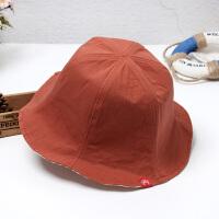 夏季遮阳帽子女双面戴大沿渔夫帽文艺百搭晒日系太阳帽子韩版 橘红色 带织标双面可带 M(56-58cm)