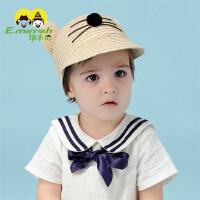 儿童鸭舌帽夏季卡通男童遮阳帽太阳帽透气时尚宝宝草帽凉帽0648 浅黄色