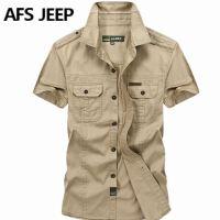 AFS JEEP短袖衬衫男战地吉普夏季新款大码宽松休闲衬衣军装潮5001