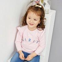 【1件2.5折到手价:21.3】米喜迪mecity童装宝宝女婴儿t恤19夏字母印花花边长袖恤