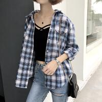 复古Polo领长袖格子衬衫女春装新款韩版宽松显瘦百搭上衣打底衫