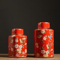 客厅玄关柜摆件 美式家居装饰品 样板房软装饰品摆件摆设 花鸟罐