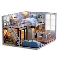 20180523071604365小房子模型diy小屋手工创意制作静待时光玩具屋女生别墅拼装 +人偶一对+