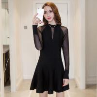 2019春季新款女装长袖韩版修身显瘦中长款性感蕾丝针织百褶连衣裙 黑色