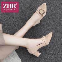 ZHR2018秋季新款尖头浅口单鞋粗跟休闲鞋韩版高跟鞋女鞋复古鞋子