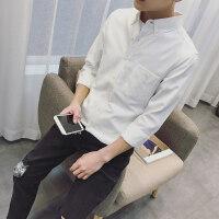 春夏季长袖衬衫男潮流帅气修身韩版潮学生青少年休闲白色衬衣qg