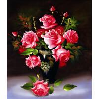 印花十字绣小幅简约现代客厅油画玫瑰花瓶十字绣卧室大幅