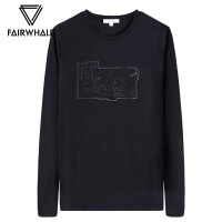 马克华菲长袖T恤男2018秋季新款韩版潮流黑色圆领套头休闲上衣潮