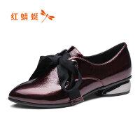 【红蜻蜓品牌特卖-领�患�100】红蜻蜓2019春款新款粗跟高跟鞋子真皮深口方头单鞋皮鞋女