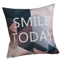 粉色北欧棉麻抱枕靠垫客厅沙发汽车靠枕床头靠背垫抱枕套