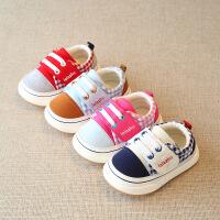 【618大促-每满100减50】新款春秋男童女童儿童拼色格子防滑机能软底学步鞋棉布鞋1-3岁2