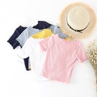 18春夏新款木耳边修身短袖T恤韩版宝宝时尚纯色百搭打底衫B6-B23