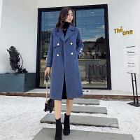 秋冬季加厚毛呢外套女中长款韩版2018新款潮宽松显瘦雾霾蓝呢大衣