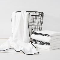 ???纯白色抹胸浴巾 男女撞色 珊瑚绒柔软吸水游泳汗蒸桑拿浴巾 白色 黑边 75x150cm