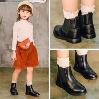 女童靴子真皮短靴秋冬款2018新款皮靴英伦风小公主棉靴儿童马丁靴