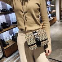 女包包韩版冬季新款ulzzang链条斜挎包百搭单肩包毛呢小方包