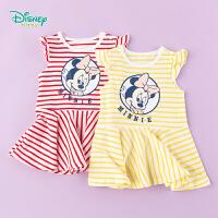 【3件3折到手价:57.9】迪士尼(Disney)童装 女童连衣裙经典色织条纹裙子2020年夏季新品儿童运动风纯棉中长
