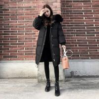 大毛领棉衣女冬季新款韩版加厚中长款羽绒显瘦保暖棉袄潮 黑色