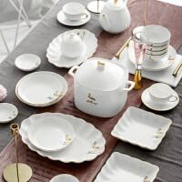 【支持礼品卡】骨瓷碗碟套装家用*金边欧式陶瓷碗盘子吃饭碗餐具组合 iu9