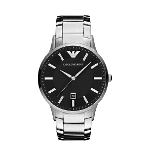 Armani阿玛尼银色大表盘男款手表 商务防水蝴蝶扣石英表AR2457