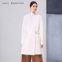 【到手价:150】[AMII东方极简] JII AMII冬季新品大码修身白色大衣中长款V领羊毛呢外套女装加厚