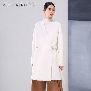 [AMII东方极简] JII AMII冬季新品大码修身白色大衣中长款V领羊毛呢外套女装加厚