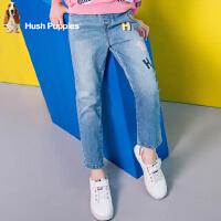 【3折价:102.96元】暇步士童装女童新款春装大童裤子单层梭织儿童贴布牛仔长裤