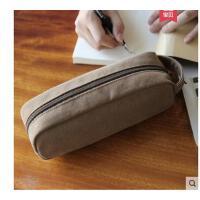 新款简约帆布笔袋量手拿包小包包男男女学生创意文具袋大容