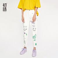 【春节不打烊,满减价:98.7元】初语2019夏装新款白色裤子女潮流撞色涂鸦印花直筒九分纯棉牛仔裤