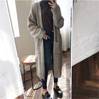 韩版ulzzang复古秋季新款中长款个性开叉卷边针织毛衣开衫外套女