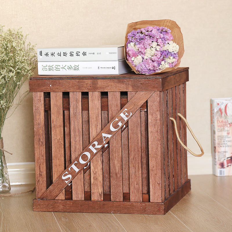 复古储物箱大号杂物箱带盖整理箱吊篮木箱木质收纳箱盒实木脏衣篮 一般在付款后3-90天左右发货,具体发货时间请以与客服协商的时间为准