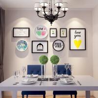 客厅餐厅简约现代组合创意装饰画玄关卧室墙壁挂画墙面墙上墙画 8框 黑白组合 185*80
