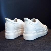 内增高鞋子女秋季2018新款韩版百搭厚底松糕鞋单鞋网红休闲小白鞋 白色