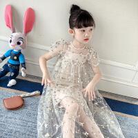 女童裙子夏装儿童连衣裙夏季短袖洋气刺绣蕾丝网纱公主裙