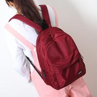中学生书包女双肩包 丝滑牛津布简约纯色双肩书包男学生双肩背包 酒红色 小款