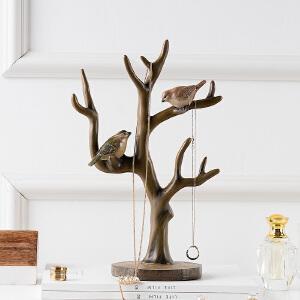 奇居良品 美式乡村树脂家居装饰品 麦德彩色手绘树鸟首饰架摆件