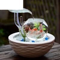 陶瓷喷泉桌面加湿器创意生日礼物家居小型客厅鱼缸流水电视柜摆件 22030HF 无雾化器
