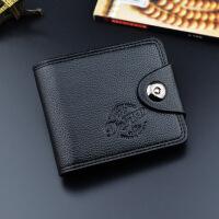 男士钱包短款欧美磁扣多功能钱夹皮夹 黑色