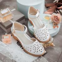 夏季大女童凉鞋镂空少女包头鞋初中高中学生甜美仙女鞋