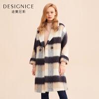 【1.5折�⒖�r:405】格子大衣女中�L款西�b�I�p排扣�n版�r尚迪�尼斯冬季新款毛呢外套