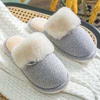 棉拖鞋女冬季情侣家居室内毛毛绒可爱保暖厚底男士家用秋冬月子鞋