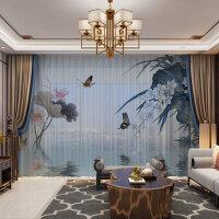 中式窗帘成品水墨画荷花客厅新中式半遮光大气简约现代禅意纱