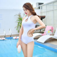 泳衣女 女士游泳衣连体三角泳装性感温泉沙滩露背装 白色 S