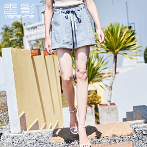 短裤女高腰香影2018夏装新款休闲显瘦纯色阔腿裤系带宽松热裤潮